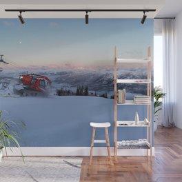 Morning animal of ski resort: Snowcat at work Wall Mural