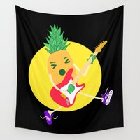 punk rock Wall Tapestries featuring Punk Ananas by ladyberula