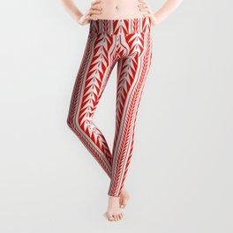 Tribal Stripes Red Leggings