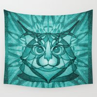 maine Wall Tapestries featuring The Forest Maine Coon by Helenasia