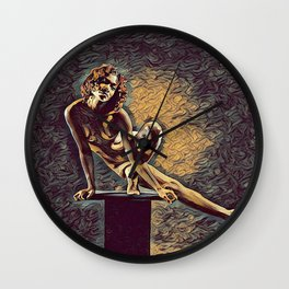 0953s-ZAC Dancer on Pedestal Graceful Young Black Woman Rendered in the Style of Antonio Bravo Wall Clock