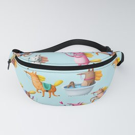 Cute and Whimsical Horse Pattern on Light Blue Fanny Pack
