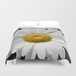 Contemporary White Daisy on Grey Pop Of Yellow Art A490 Duvet Cover
