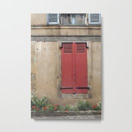 Red Shutters - travel photography Metal Print