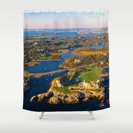 The Waves Mansion and Newport Bridge, Newport, Rhode Island Shower Curtain
