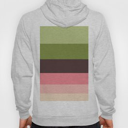Olive Green & Pink Colorful Stripes Colour Block Hoody