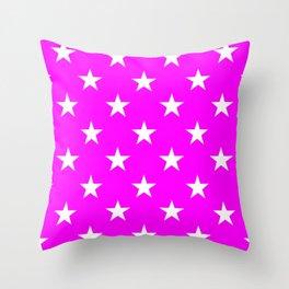 Stars (White/Fuchsia) Throw Pillow
