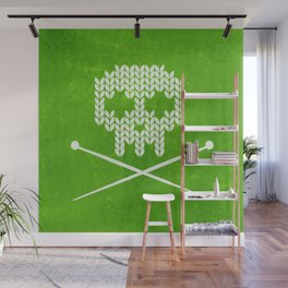 Knitted Skull / Knitting with Attitude (white on apple green) Wall Mural