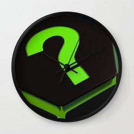 Green question mark on hexagons - 3D rendering Wall Clock