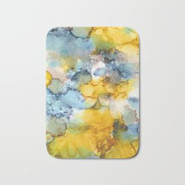 Alcohol Ink 'Fools Gold' Bath Mat