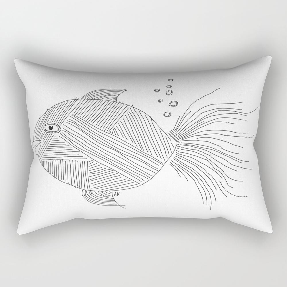 Gassy Fish / White Ink Rectangular Pillow RPW807694