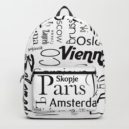 European capitals on white Backpack