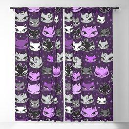 Purple Rockabilly Cats Blackout Curtain