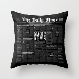The Daily Mage Fantasy Newspaper II Throw Pillow