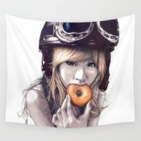 doughnut Wall Tapestries featuring Shinobu by Peter Fulop