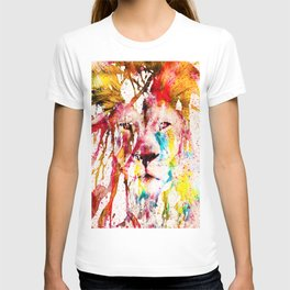 Wild Lion Sketch Abstract Watercolor Splatters T-shirt