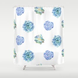 Bue and gren succulents pattern Shower Curtain