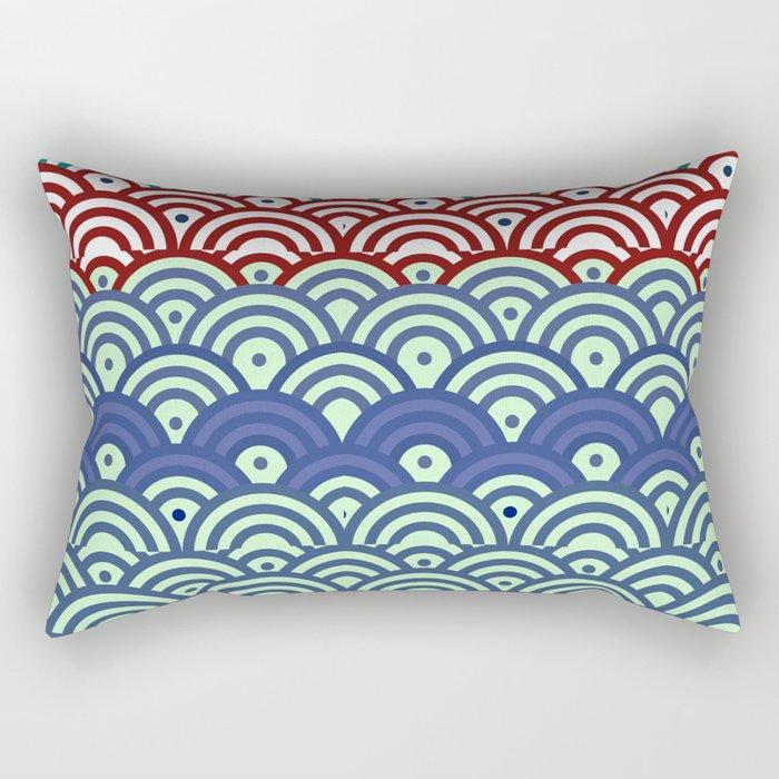 Art Deco Seigaiha 2 Rectangular Pillow
