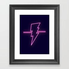 Rad Pink Neon Lightning Framed Art Print
