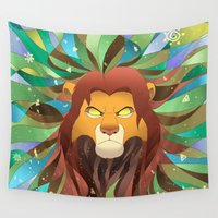 simba Wall Tapestries featuring Spirit of The Lion King by EmeraldSora