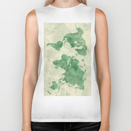 World Map Green Biker Tank