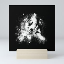 australian shepherd aussie dog puppy splatter watercolor black white Mini Art Print