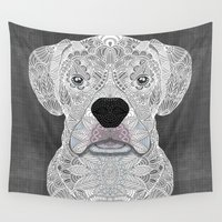 boxer Wall Tapestries featuring White Boxer by ArtLovePassion