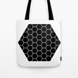 Geometric shape t-shirts & prints: Black Hexagon (Hex x Hex) Multiple colours available... Tote Bag