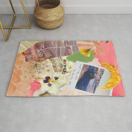 Abstract Textured Collage Pattern - Pressed Flowers, Paint, Vintage Photos Rug