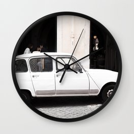 White Renault R4 - Lisbon, Portugal Wall Clock