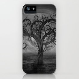 Golden Spiral Tree Black and White iPhone Case