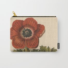 1800s Encyclopedia Lithograph of Anemone Flower Carry-All Pouch