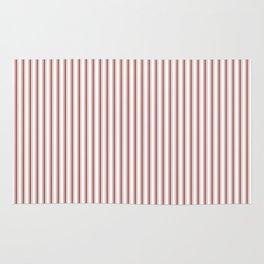 Vintage New England Shaker Barn Red Milk Paint Mattress Ticking Vertical Narrow Striped Rug