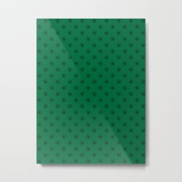 Black on Cadmium Green Snowflakes Metal Print