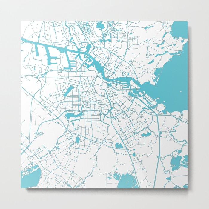Amsterdam White on Turquoise Street Map Metal Print