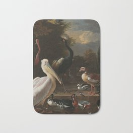 Melchior d'Hondecoeter - A pelican and other fowl at a water basin, known as 'The floating feather' Bath Mat