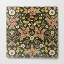 Sage, Dark Green, Peach & Cream Floral Pattern Metal Print
