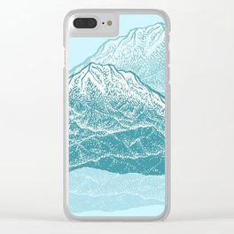Distant Snow- 遠雪 : linocut Clear iPhone Case