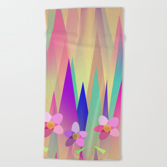 Mountains And Flowers Beach Towel