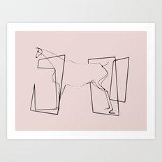 Horse line art minimalism Art Print