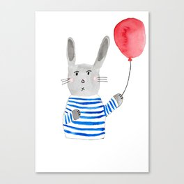 Bunny holding a red balloon Canvas Print