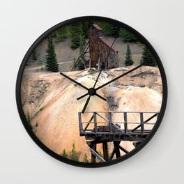 1880's Gold Rush - Mine Headshaft on Red Mountain from the Idarado Ore Cart Track Wall Clock
