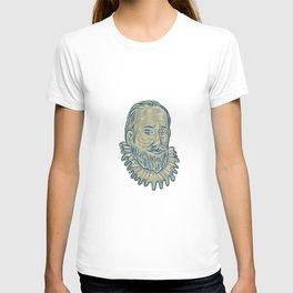 Sir Walter Raleigh Bust Drawing T-shirt