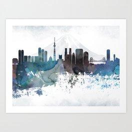 Tokyo Bluish Skyline Art Print