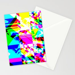 Glitch geometric pattern design artwork Stationery Cards