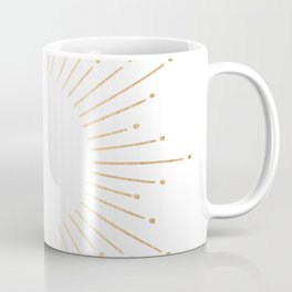 Sunburst Gold Copper Bronze on White Coffee Mug