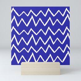 Hand-Drawn Zig Zag (White & Navy Blue Pattern) Mini Art Print