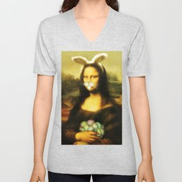 Easter Mona Lisa with Whiskers and Bunny Ears Unisex V-Neck
