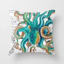 Teal Octopus Tentacles Vintage Map Nautical Throw Pillow