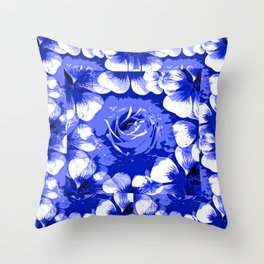 Roses Blue and White Toile #2 Throw Pillow